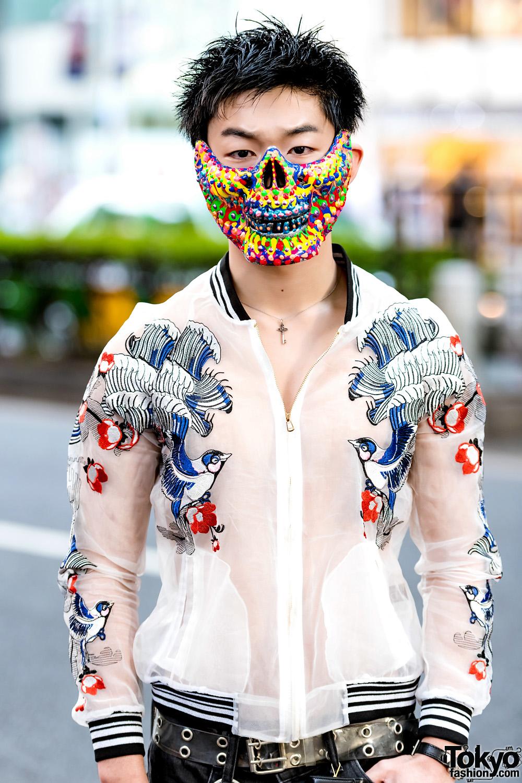 Punk Infused Streetwear W Colorful Mask Vintage Sukajan