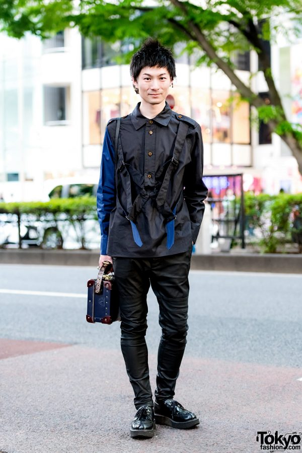 Black Harajuku Street Style w/ Vivienne Westwood Harness Strap Shirt, Skinny Pants, Suitcase Bag & George Cox Creepers