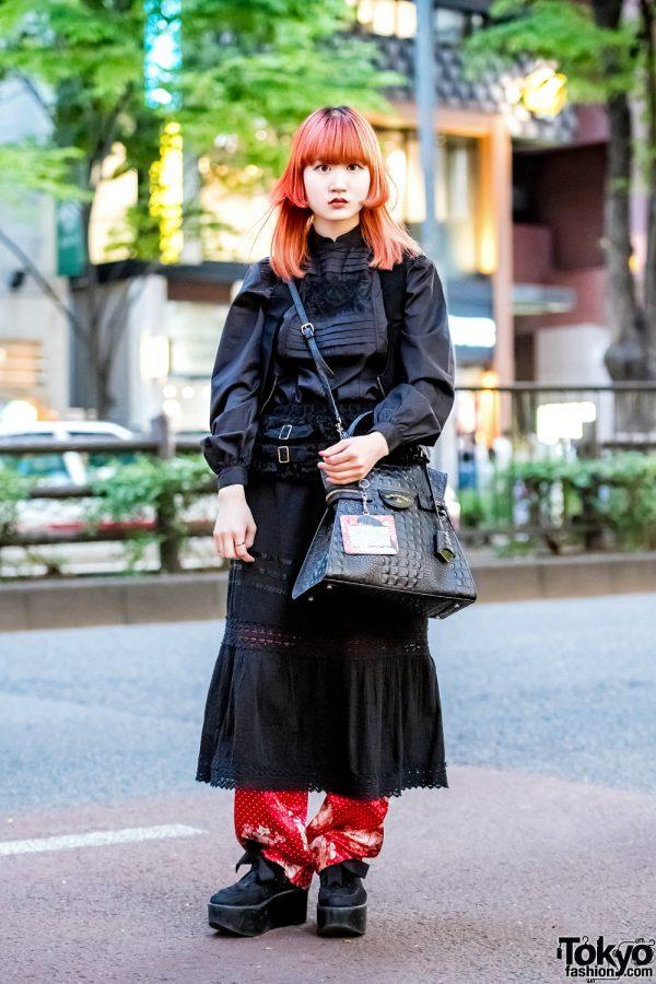 Red & Black Layered Street Style in Harajuku w/ Vivienne Westwood, Kinji & Tokyo Bopper