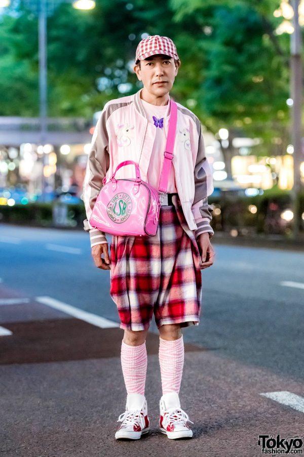 Plaid & Pink Tokyo Street Style w/ Laforet Harajuku, Little Sunny Bite, Stussy, G-Shock & Converse