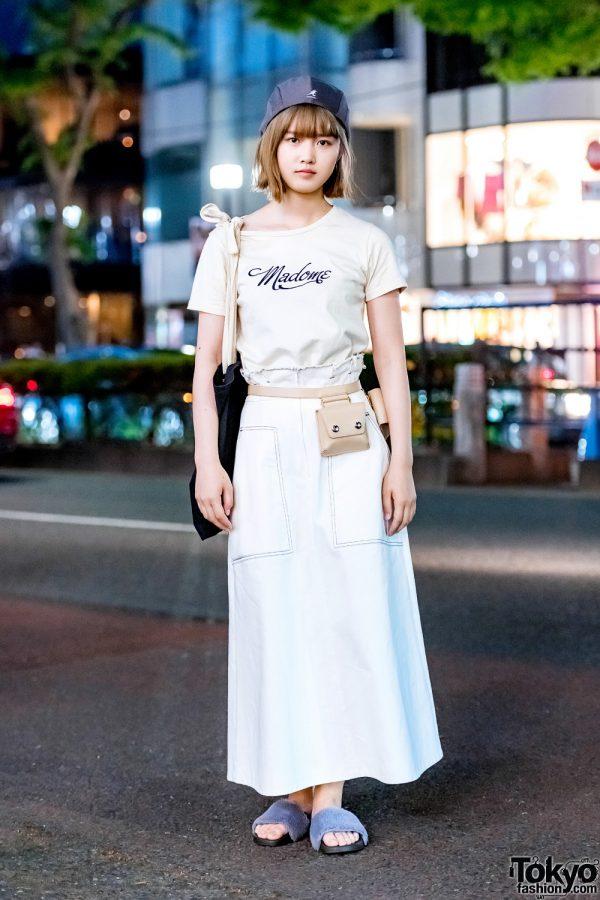 Casual Minimalist Style in Harajuku w/ Redyazel, Snidel, Fur Slides, Kangol Beret & Honey Mi Honey Tote Bag