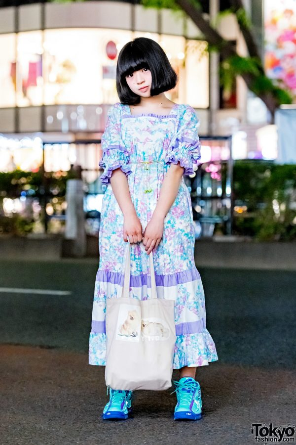 Japanese Idol Yoneko in Harajuku w/ Vintage Floral Dress, FILA Sneakers & FRAY I.D. Pomeranian Tote Bag