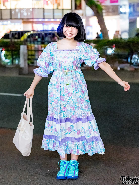 japanese idol yoneko in harajuku w vintage floral dress