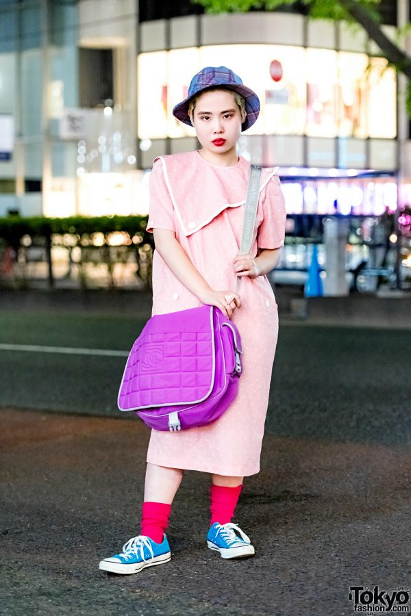 Retro Vintage Street Style in Harajuku w/ Polka Dot Dress, Converse Sneakers, Chanel Bag & Plaid Hat