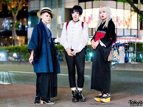 Japanese Girl Trio's Vintage & Remake Street Styles w/ Deorart, Gucci, Yosuke, Versace, Vivienne Westwood & Harry Potter Backpack