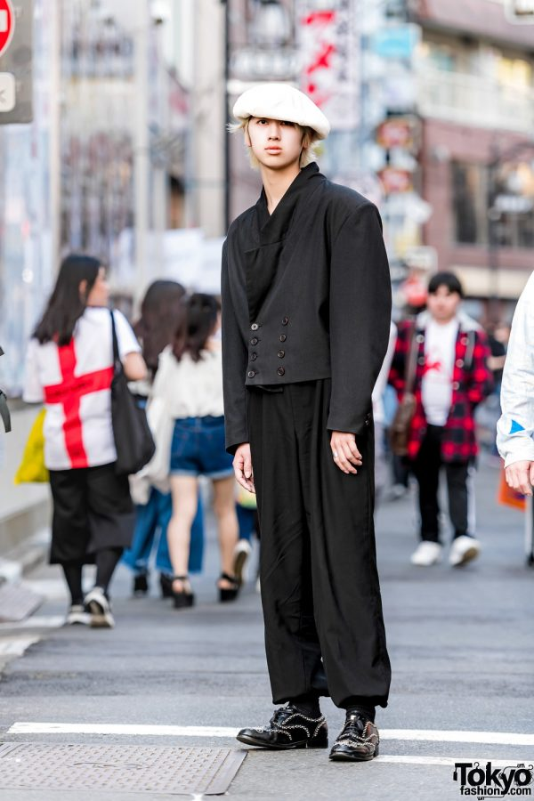 Tokyo Vintage Menswear Street Style w/ White Beret, Cropped Jacket & Studded Lace-Up Shoes