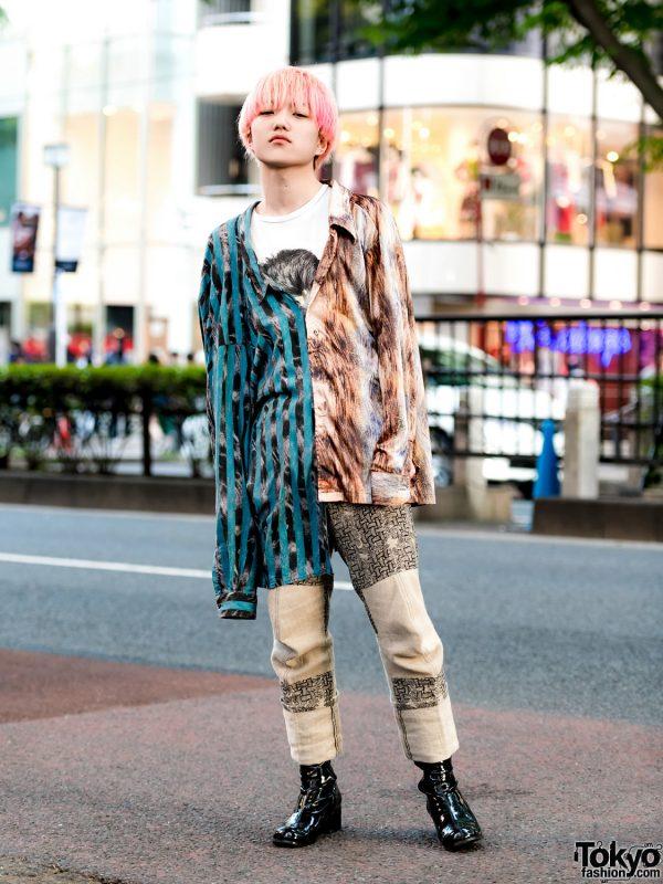 Pink Hair & Mixed Prints Harajuku Vintage Street Style w/ GU, Christopher Nemeth & Marc Jacobs