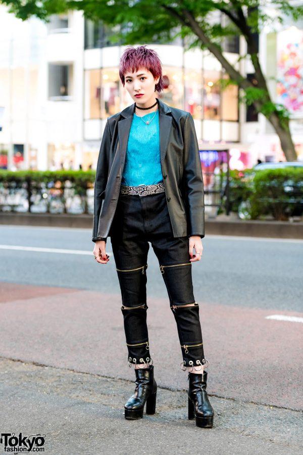 Pink Pixie Cut Hairstyle in Harajuku w/ Leather Blazer, Zipper Pants & Platform Booties