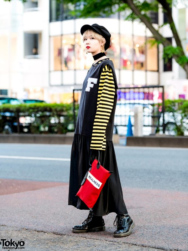 Japanese Model in Fleamadonna Top, Pleated Skirt, Longchamp Bag & Dr. Martens Boots
