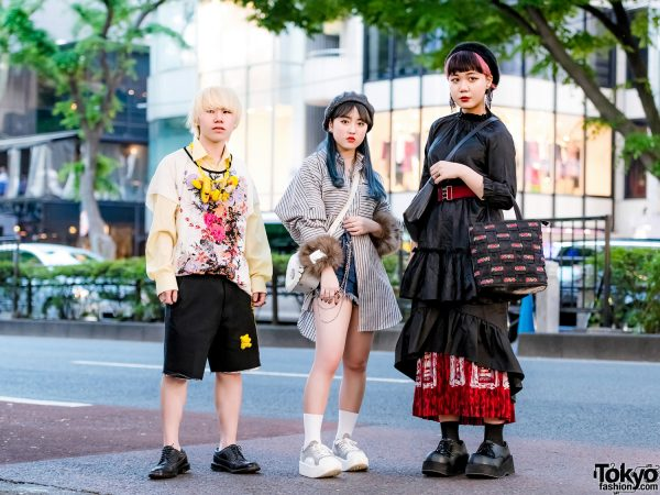 Japanese Trio's Streetwear Styles w/ Toy Charm Necklace, Remake Shorts, Dairiku Striped Shirt, Tokyo Bopper Sneakers, Regal Brogues, Dammy Skirt & Yukiko Kimijima Bag