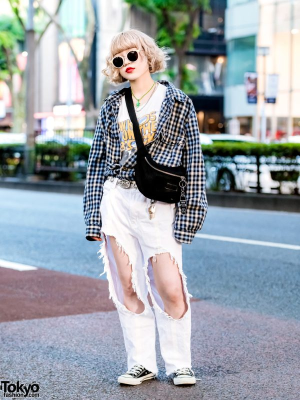 Harajuku Girl w/ New Kids on The Block T-Shirt, M.Y.O.B. Ripped Jeans, X-Girl & Converse