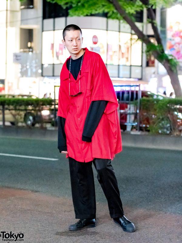 Japanese Model w/ Red Kingsize Top & Yohji Yamamoto Shoes in Harajuku