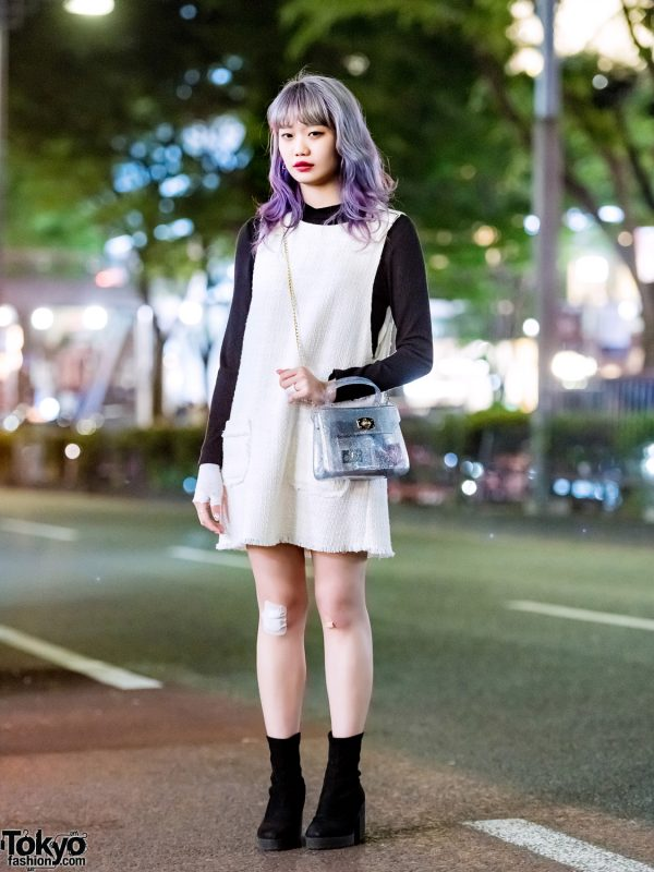 Ombre-Haired Elleanor in Harajuku w/ Zara Tunic Dress, Suede Boots & WC Glitter Bag