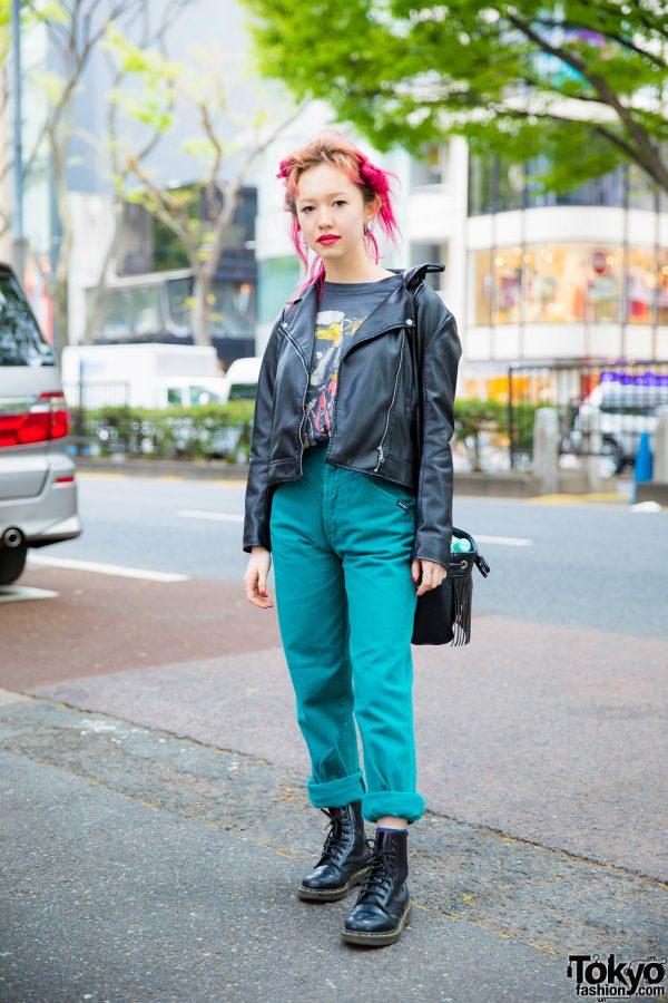 Vintage Tokyo Streetwear Style w/ Pink Hair, GU Leather Jacket, Global Work Bag, Dr. Martens Boots & Kinji Rings