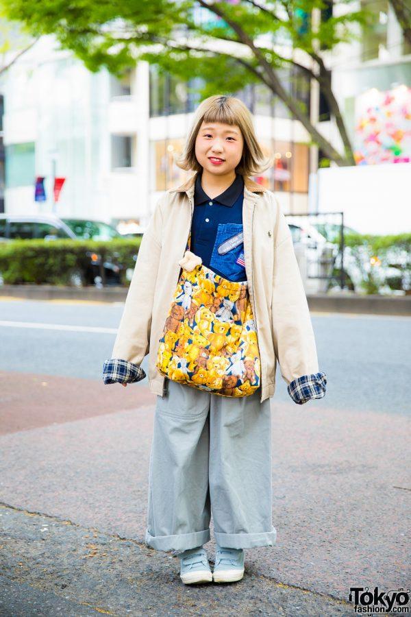 Tokyo Handmade Street Style w/ Bear Print Bag, Amatunal Pants & Ralph Lauren Jacket