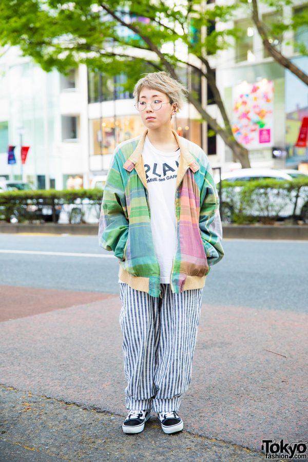 Harajuku Girl w/ Polo Ralph Lauren Jacket, Comme des Garcons Play Shirt, Striped Pants & Vans Sneakers