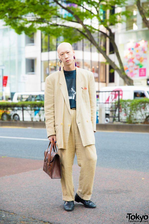 Japanese Model & Musician in Dapper Vintage Street Style w/ Comme des Garcons, Supreme & YSL