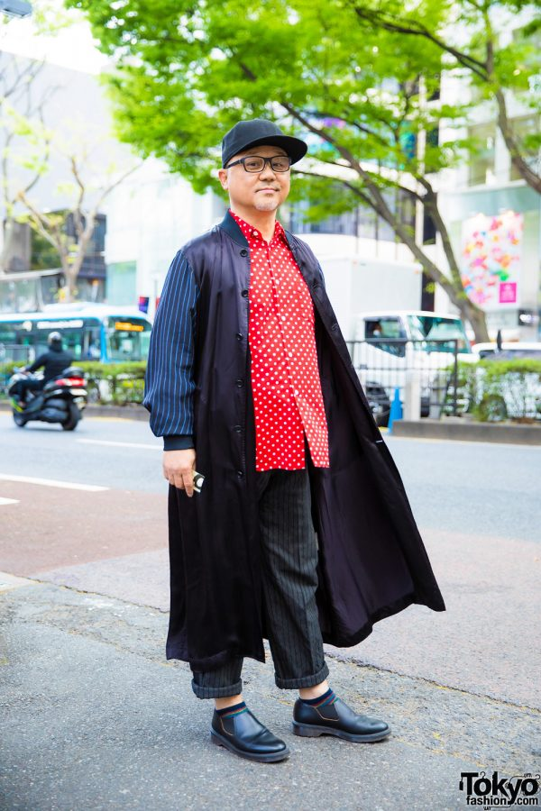 Japanese Hair Stylist in Mixed-Prints Streetwear Style w/ Comme des Garcons & Dr. Martens