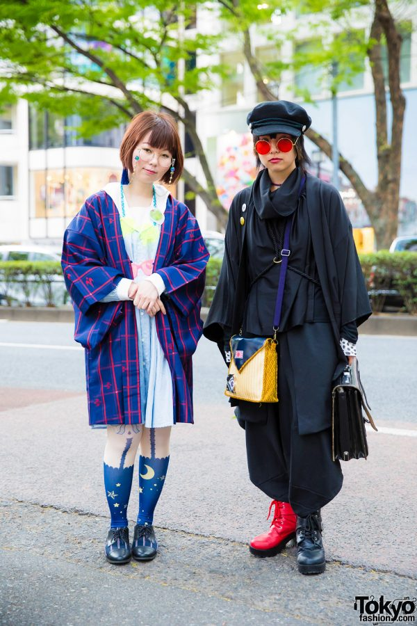 Harajuku Girls in Vintage & Handmade Streetwear Styles & Round Glasses