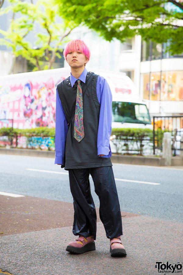 Casual Preppy Harajuku Streetwear w/ Pink Bob, Vest, Printed Necktie & Platform Colorblock Shoes