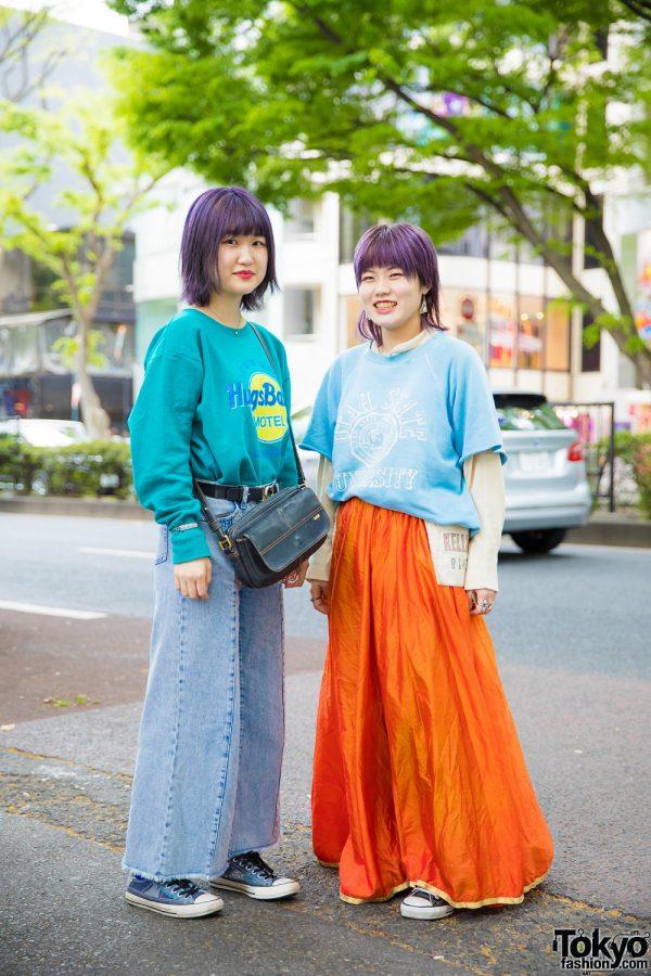 Purple-Haired Japanese Girls in Hugs Baby Sweater, GU Flared Jeans, Converse Sneakers & Orange Maxi Skirt