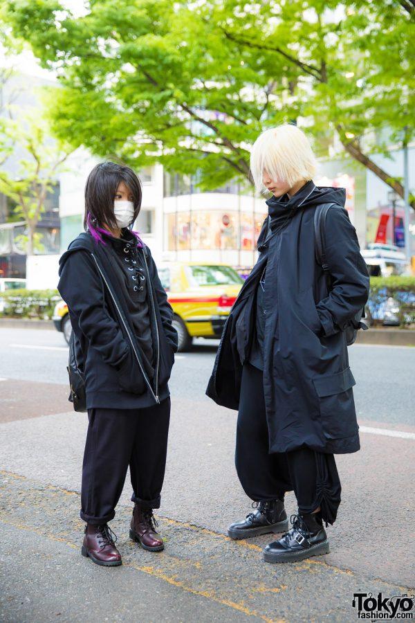 All Black Streetwear Styles w/ Blonde & Purple-Tipped Hair, Monomania Cowl Neck Coat, GU Cuffed Pants, Drug Honey Boots & Backpacks