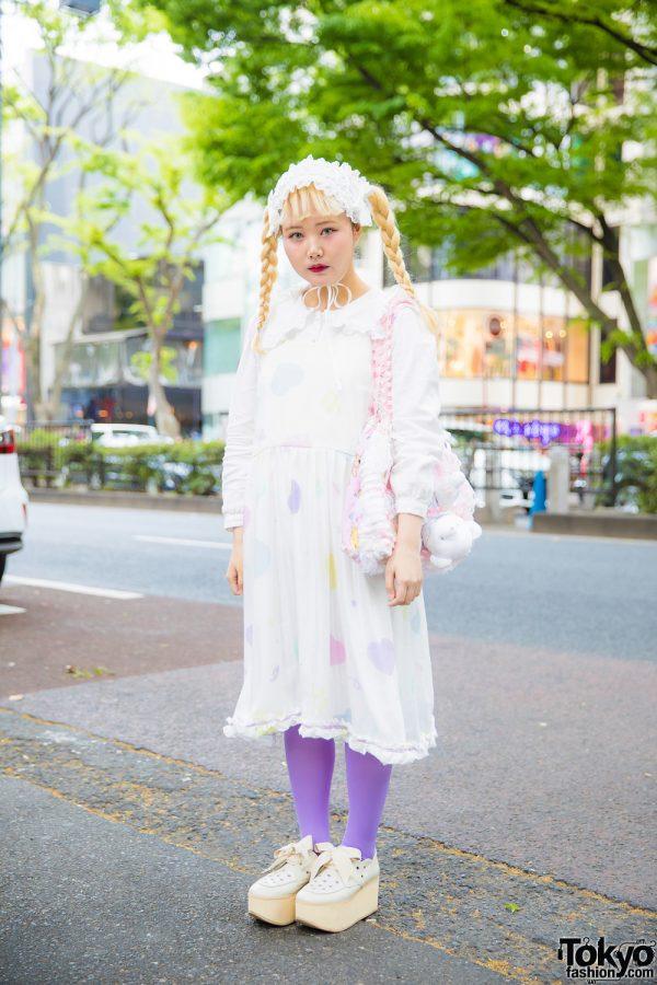 Pastel Harajuku Fashion w/ Lace Headpiece, Heart Dress, Gunifuni Bag & Tokyo Bopper Bow Shoes