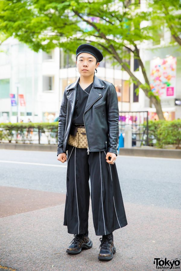 All Black Japanese Streetwear w/ Pameo Pose Wide Leg Pants, Louis Vuitton Sneakers & Gucci Belt Bag