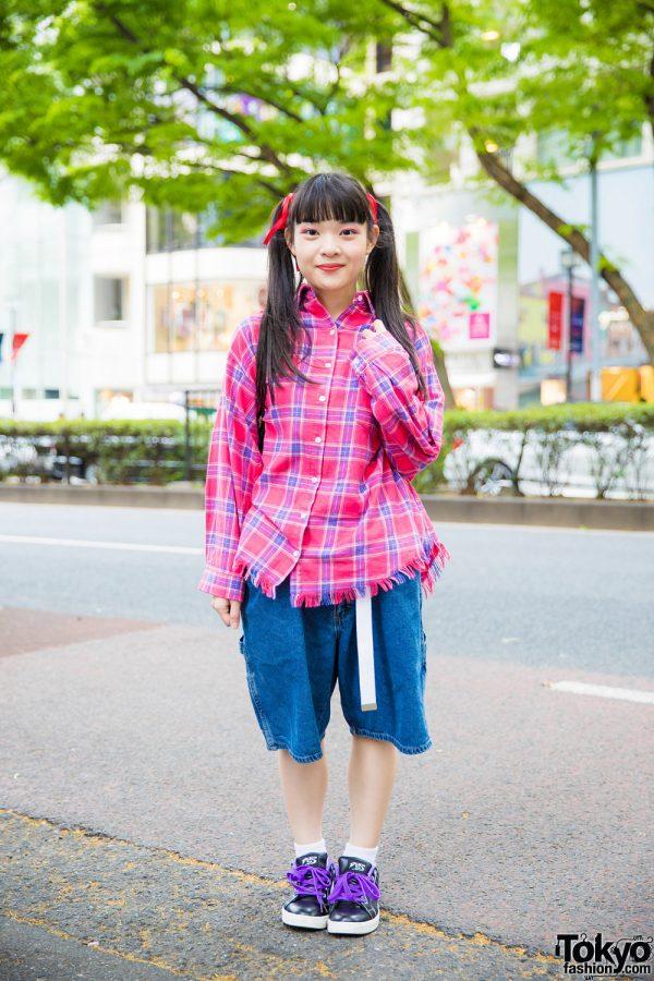 Casual Plaid & Denim Street Style w/ PUNYUS, San To Nibun No Ichi, WEGO & Piko