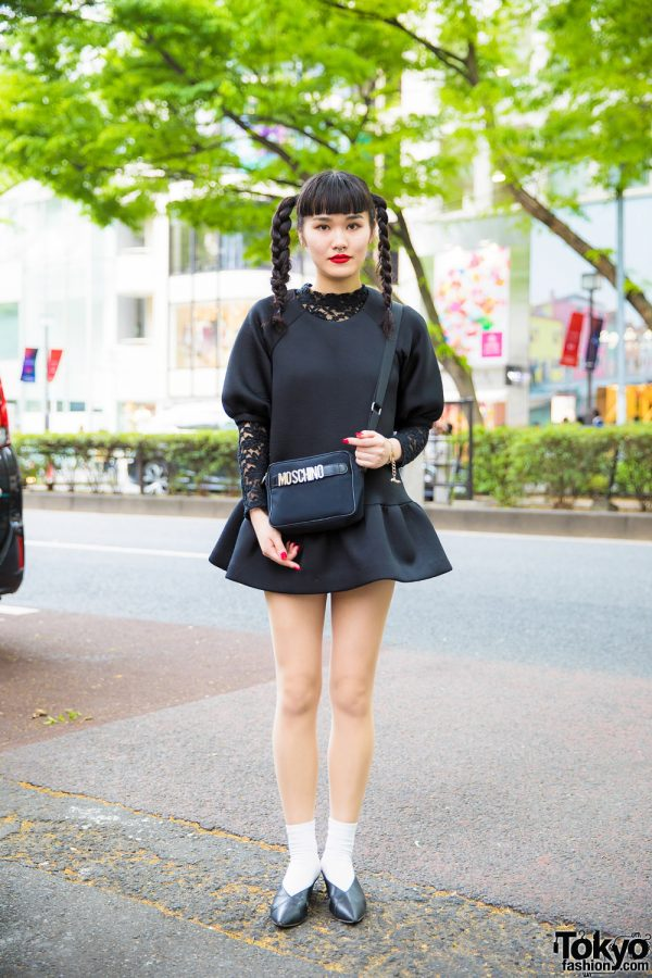 Twin Braids, Neoprene Mini Dress, Moschino & Vivienne Westwood in Harajuku