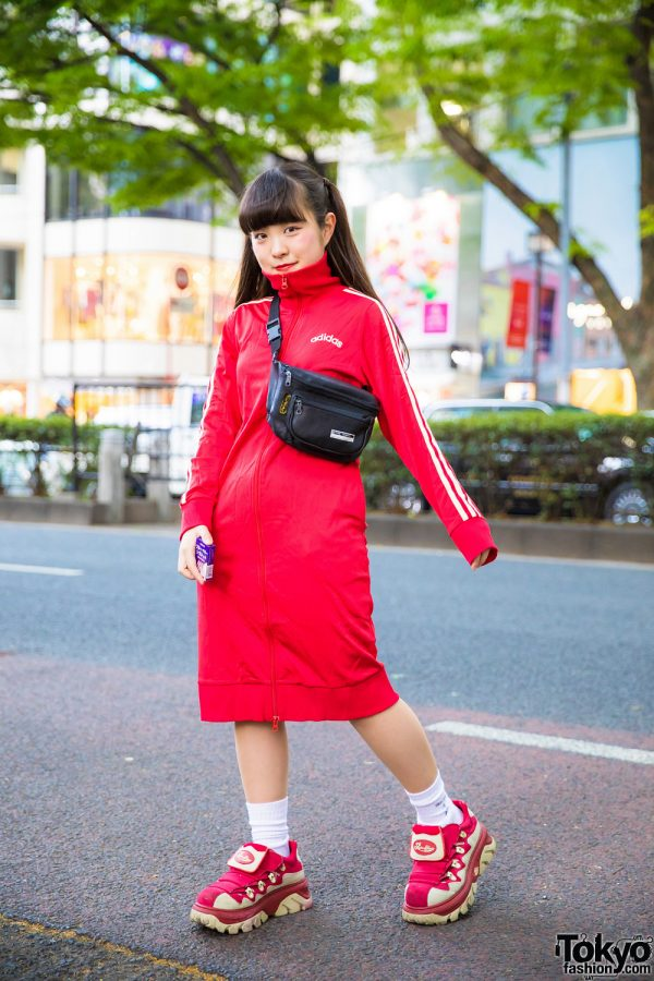 Red Sporty Harajuku Street Style in Adidas Zip-Up Dress, RRR Show Room Sneakers & Belt Bag