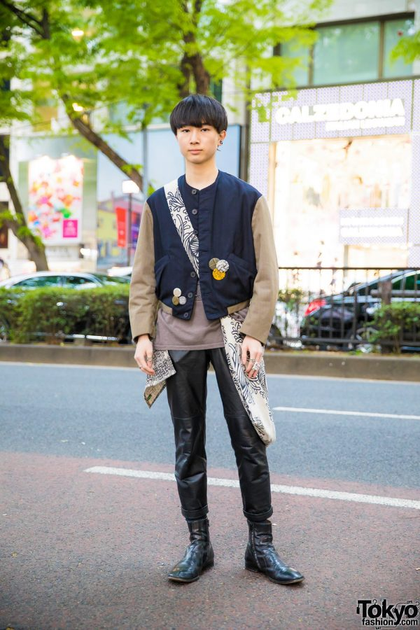 Stylish Japanese Menswear Style w/ Christopher Nemeth Two-Tone Jacket, Leather Pants, Maison Margiela Boots & Printed Tote