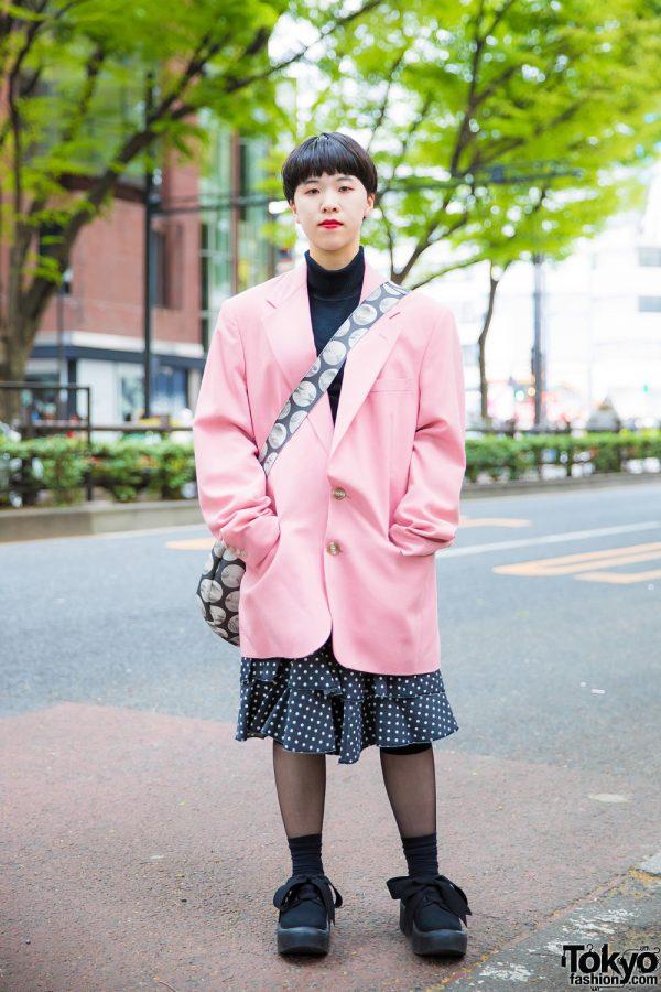 Japanese Street Style in Otoe Blazer, Comme des Garcons Ruffle Skirt, Tokyo Bopper Bow Shoes & Polka Dot Sling Bag