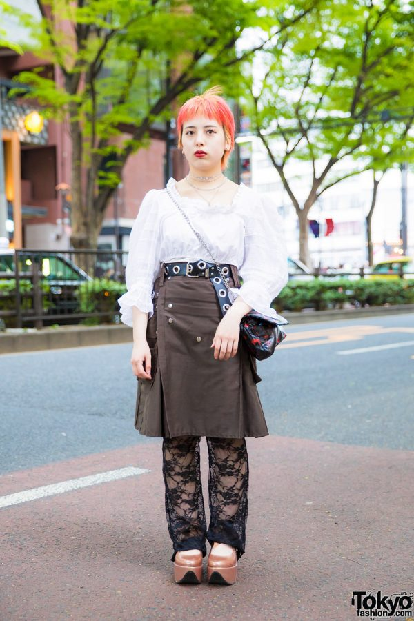 Pink-Haired Harajuku Girl in Faith Tokyo and Vivienne Westwood Tokyo Street Styles
