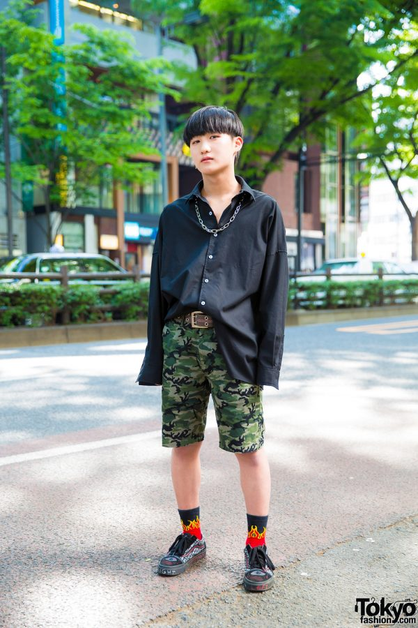 Harajuku Guy in Camouflage Print Shorts, Flame Socks & Vans Sneakers