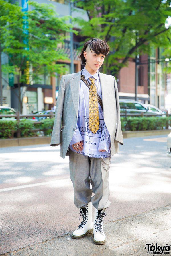 Vintage Menswear Suit Style w/ Doublet Shirt, Maison Margiela Tie & Dr. Martens White Boots