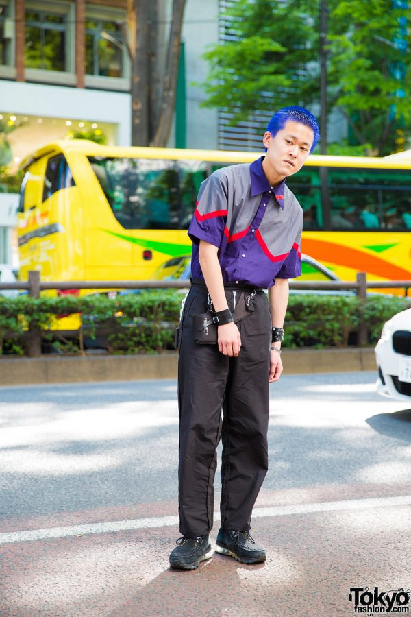 Japanese Street Style w/ Electric Blue Hair, Phingerin Collar Shirt & Suede Shoes
