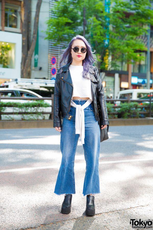Chic Minimalist Street Style w/ Purple Hair, Emoda Cropped Tee, Flared Jeans & Platform Loafers
