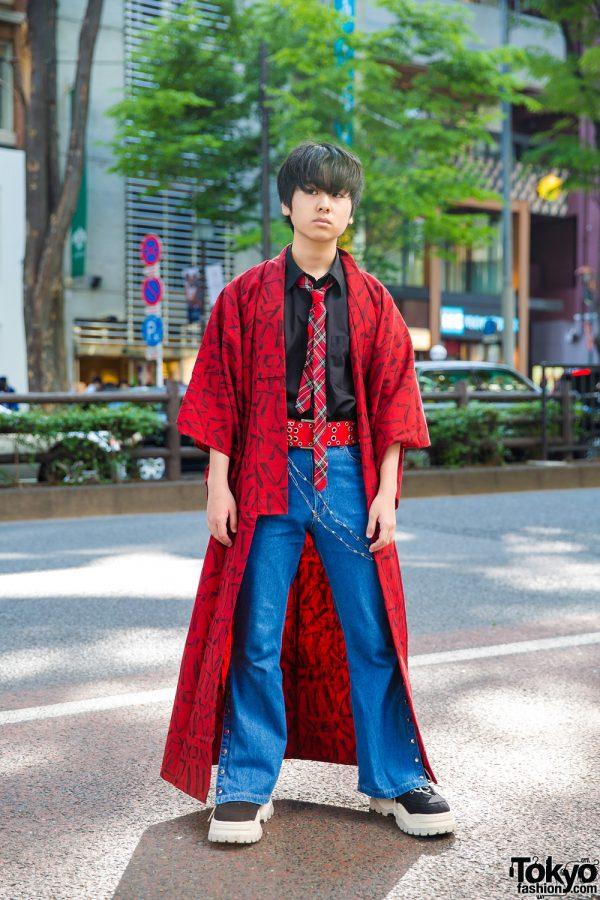 Harajuku Teen in Printed Kimono Coat, Kinji Flared Jeans, Plaid Necktie & Eytys Sneakers