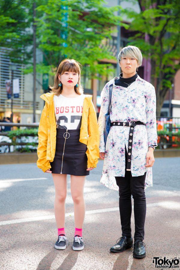 Harajuku Teens in Zara Paint-Splattered Shirt, Uniqlo Turtleneck, Jouetie Yellow Jacket & Ralph Lauren Sneakers