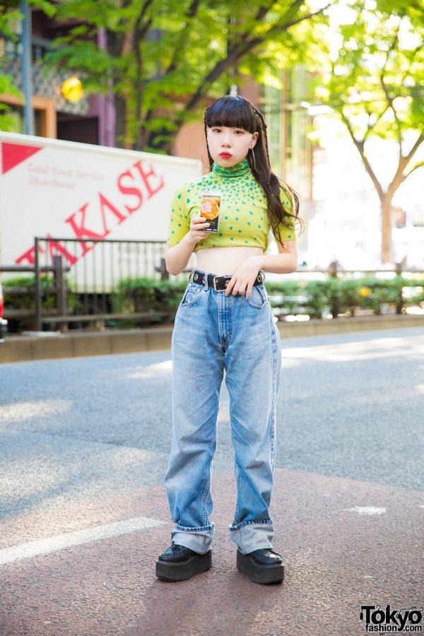 Harajuku Girl in Vintage Streetwear Style