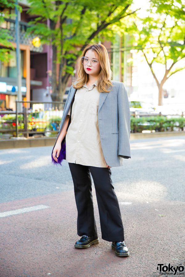 Chic Minimalist Fashion w/ Grey Blazer, Flared Pants, Dr. Martens Boots & Oversized Cat Eye Glasses