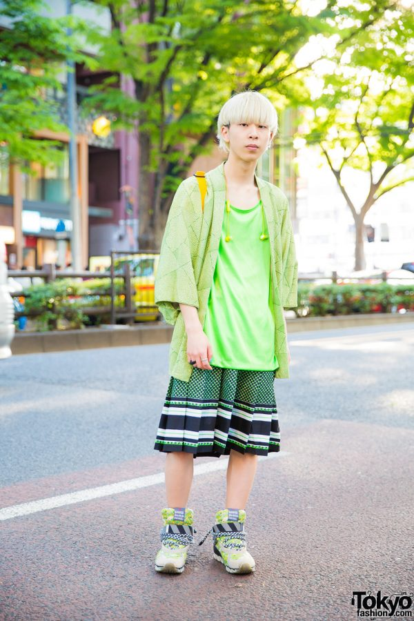 Blonde Japanese Guy in Green Street Style w/ Printed Kimono, New York Joe T-Shirt, Pleated Skirt & Bernhard Willhelm Sneakers