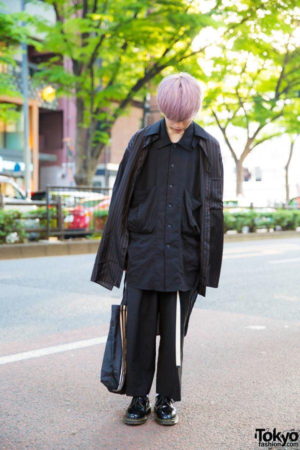Purple Hair & All-Black Street Style in Harajuku w/ Yohji Yamamoto, Hare, Adidas & Dr. Martens