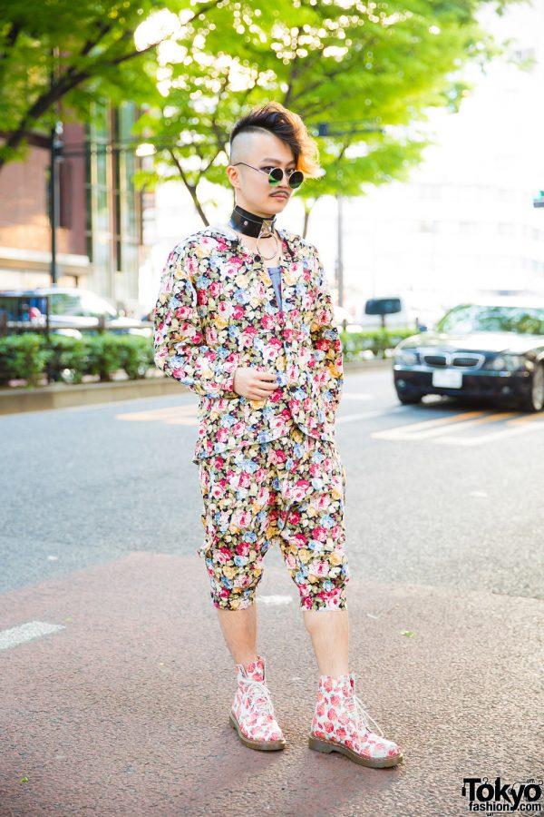 Japanese DJ & Composer in Floral Print Harajuku Streetwear w/ Milkboy, Vivienne Westwood Man, Dr. Martens & BeautiK