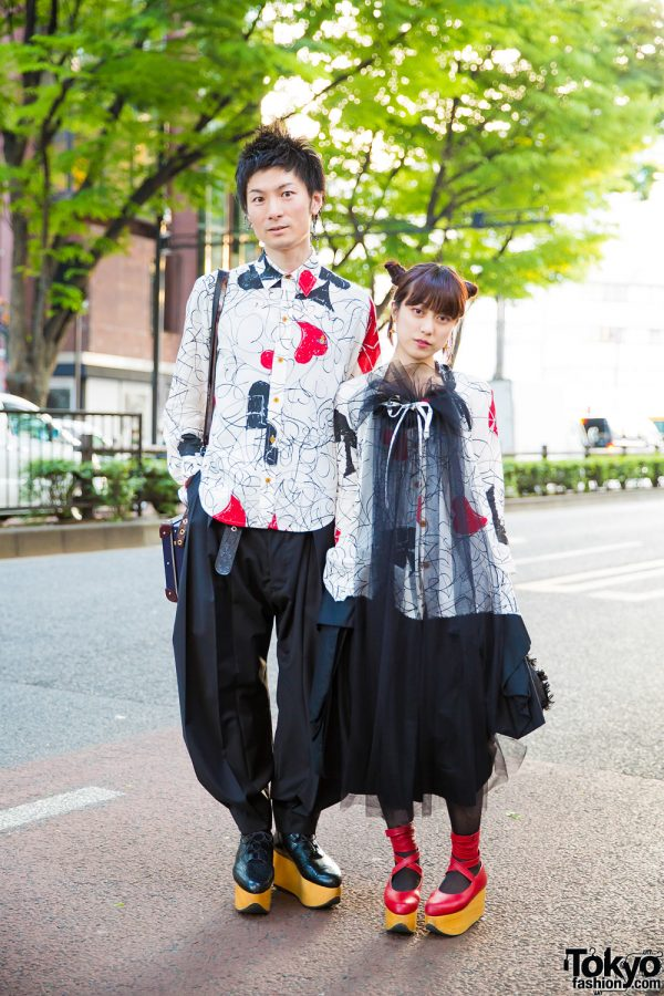 Harajuku Duo in Matching Vivienne Westwood Printed Outfits & Rocking Horse Shoes
