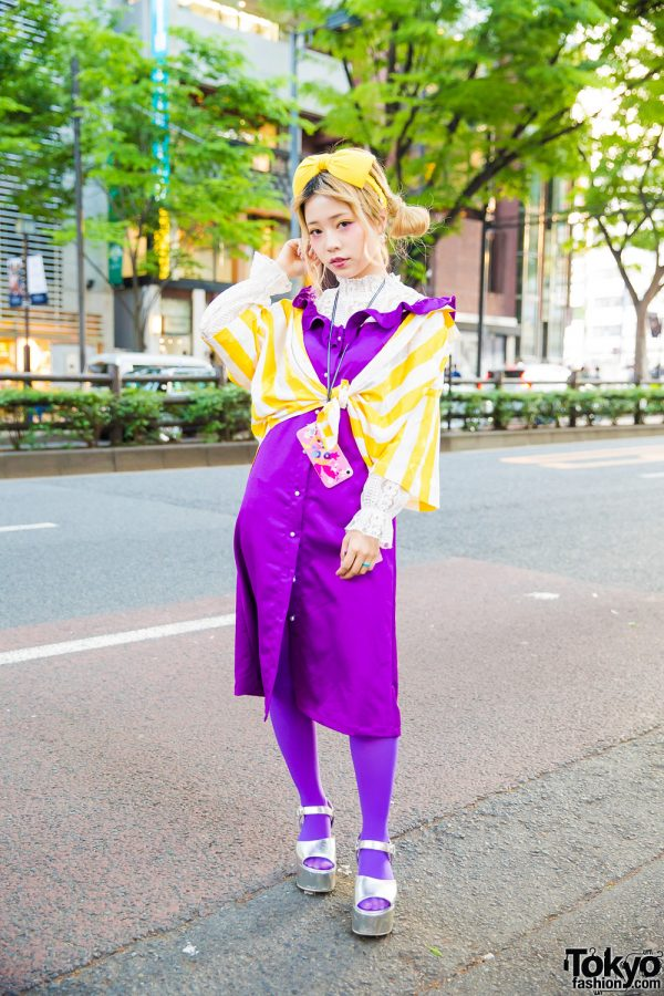 Purple & Yellow Harajuku Street Style w/ Hair Bow, Vintage Striped Top, Charmmy Ruffle Dress & Metallic Sandals