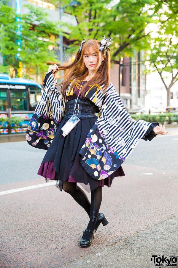 Modern Lolita Street Style in Harajuku w/ Metamorphose Kimono, Atelier Boz Jumper Dress & Yumetenbo Mary Janes