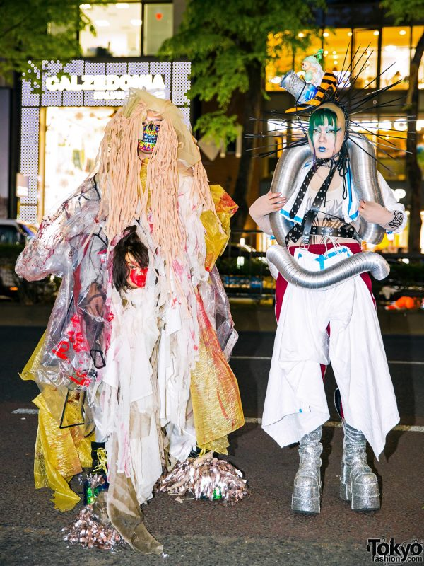 Avant-Garde Japanese Street Styles w/ Handmade & Remake Fashion, Spiked Headpiece, Face Mask, Demonia, YRU & Dolls Kill