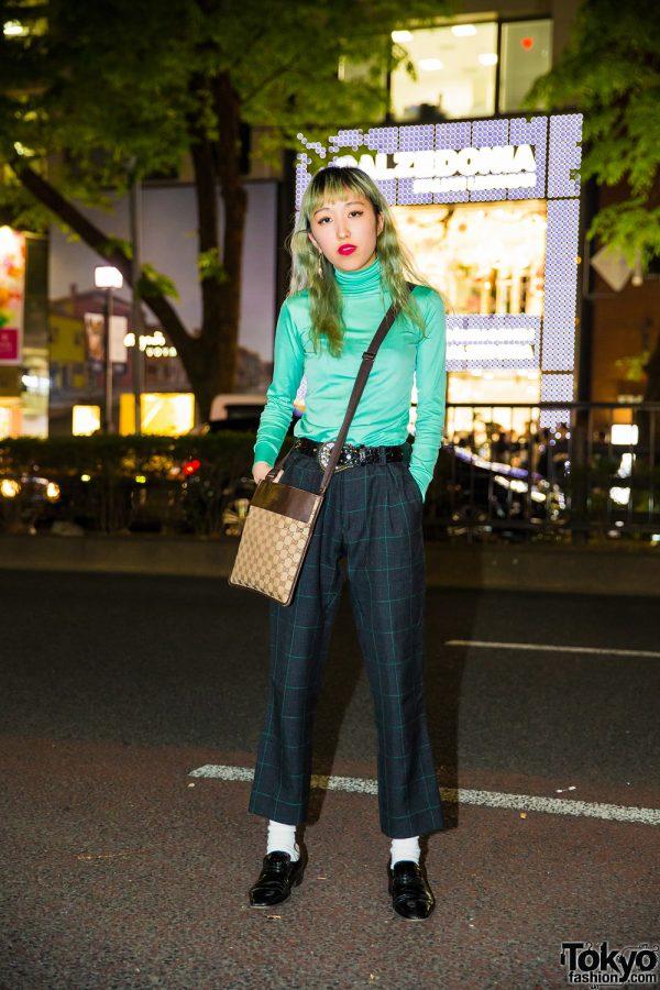 Green Hair, Kinsella Turtleneck, John Lawrence Sullivan Pants, Gucci Bag & Balmain Shoes in Harajuku